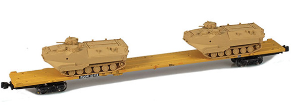 DODX – 89' Flat cars with AAV-7 armor loads